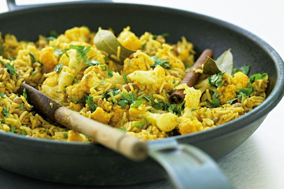 Receta Vegana: Pilaf de lentejas y coliflor (bajo en grasa)