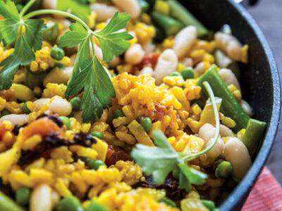 Receta Vegana Paella de verduras de primavera